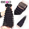 7A Brazilian Virgin Hair With Closure Brazilian Curly Hair Bundles with Lace Closures Beyo Hair Products 3 Bundles with Closure