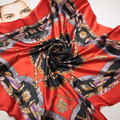 90 cm * 90 cm el nuevo cinturón de cadena de empalme mujeres H bufanda de seda de primavera bufanda cuadrada grande