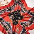 90 cm * 90 cm o novo cinto cadeia emenda mulheres H primavera lenços de seda grande lenço quadrado