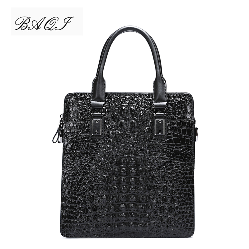 BAQI Men Briefcase Bag Men Handbags Crocodile Pattern Cow Leather Man Shoulder Messenger Bag High Quality Computer Business Bag