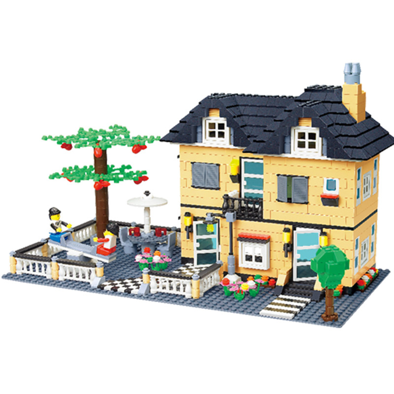 City Villa House DIY Model Building Blocks Bricks Sets 816Pcs Assembly Educational Toys For Children Birthday Gifts 34053 super cool 115pcs set forklift trucks assembly building blocks kits children educational puzzle toys kids birthday gifts