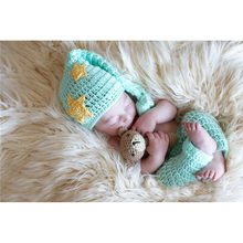 New Arrival Baby Photography Accessories Knitted Baby Hat cap and Pants Set Newborn Crochet Beanies Toddler Shower Gifts(China)