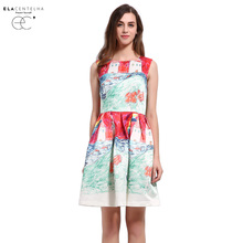 ElaCentelha Women Summer Dress Baroque Novelty New Fashion Imitation Painting Innocent Printing Dress Woman Sundress Day Dresses