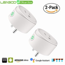LEAGOO Wi Fi Smart US Plug 2 Packs APP Android and iOS Adaptor Power on and off  10A AC 120V 1200W Smart Remote Function Socket