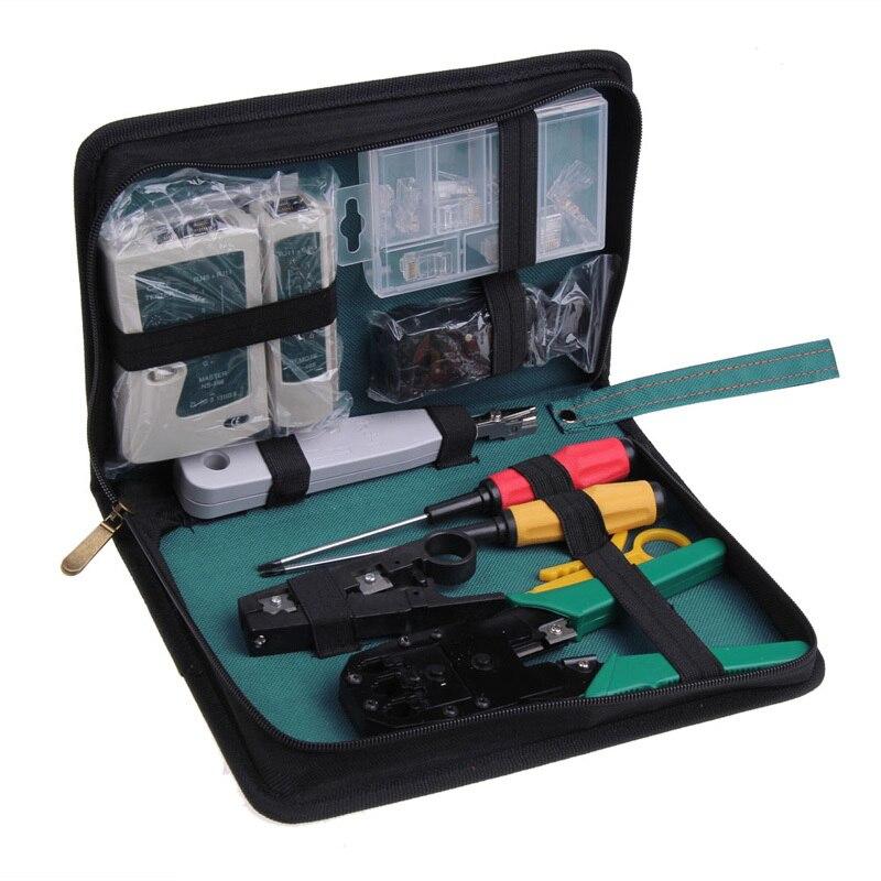 11 en 1 professionnel réseau ordinateur Maintenance réparation outil Kit croix plat tournevis pince à sertir Etc outils à main en cuir
