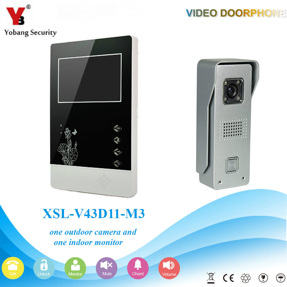 YobangSecurity 4.3Inch Color Wired Video Door Phone System Visual Intercom Doorbell with 1 Monitor 1 Outdoor Camera Rainproof the door chai non visual intercom doorbell telephone rainproof function