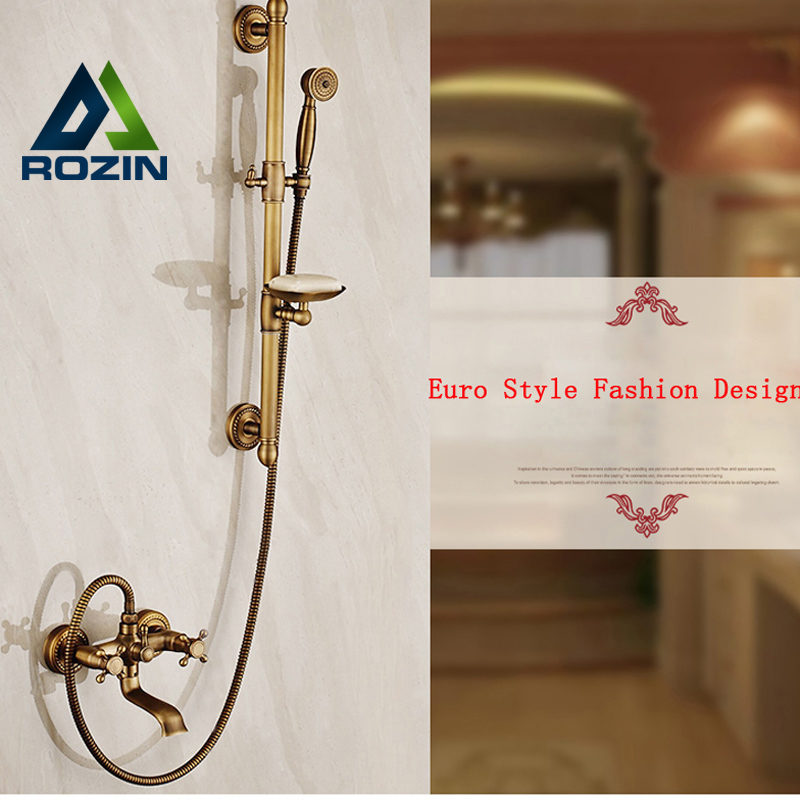 Wall Mount Adjust Height Sliding Bar Shower Faucet Set Wall Mount Rotate Tub Spout with Soap Dish Antique Brass Finish shower faucet wall mounted antique brass bath tap swivel tub filler ceramic style lift sliding bar with soap dish mixer hj 67040