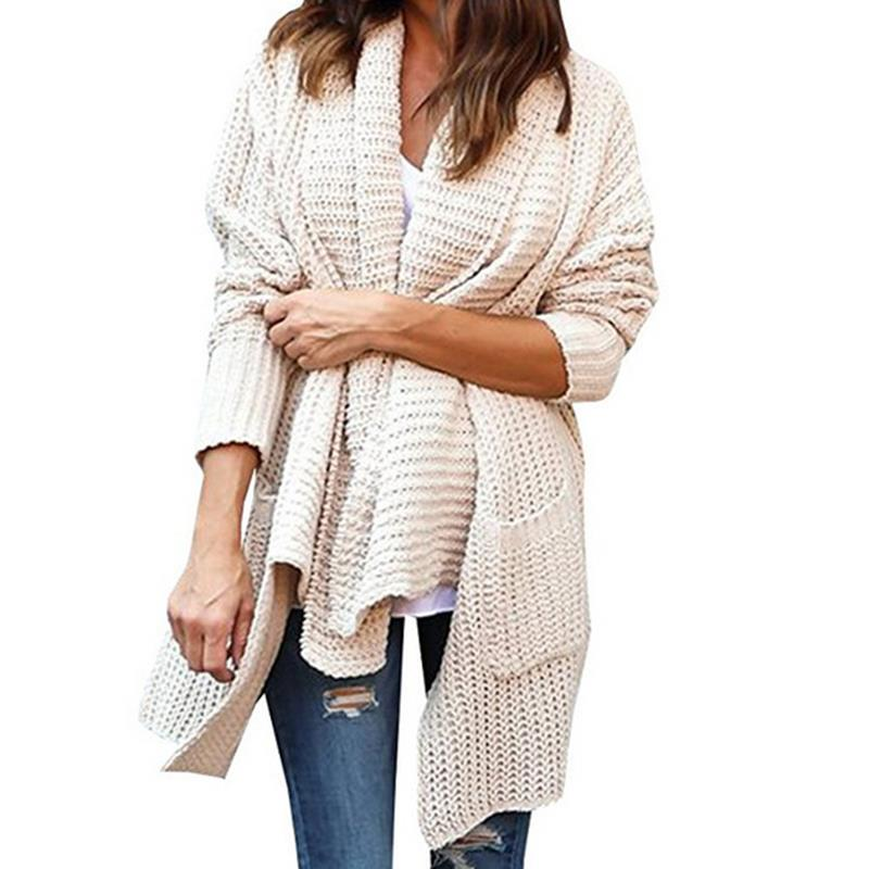 New Women Long Sleeve <font><b>Knitted</b></font> Cardigan With Pockets Loose Sweater Outwear Long Oversized Jacket Coat Female WS2844E