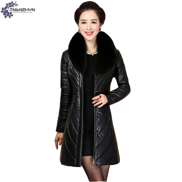 TNLNZHYN Women clothing high-end warm Fake leather jacket coat winter new  fashion large size female Fake leather Outerwear QQ482 228d7da59