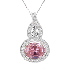 Sterling 925 Silver Pendant Necklace Women's 7x9mm Oval Pink CZ Stone Gourd Shape Jewelry P066