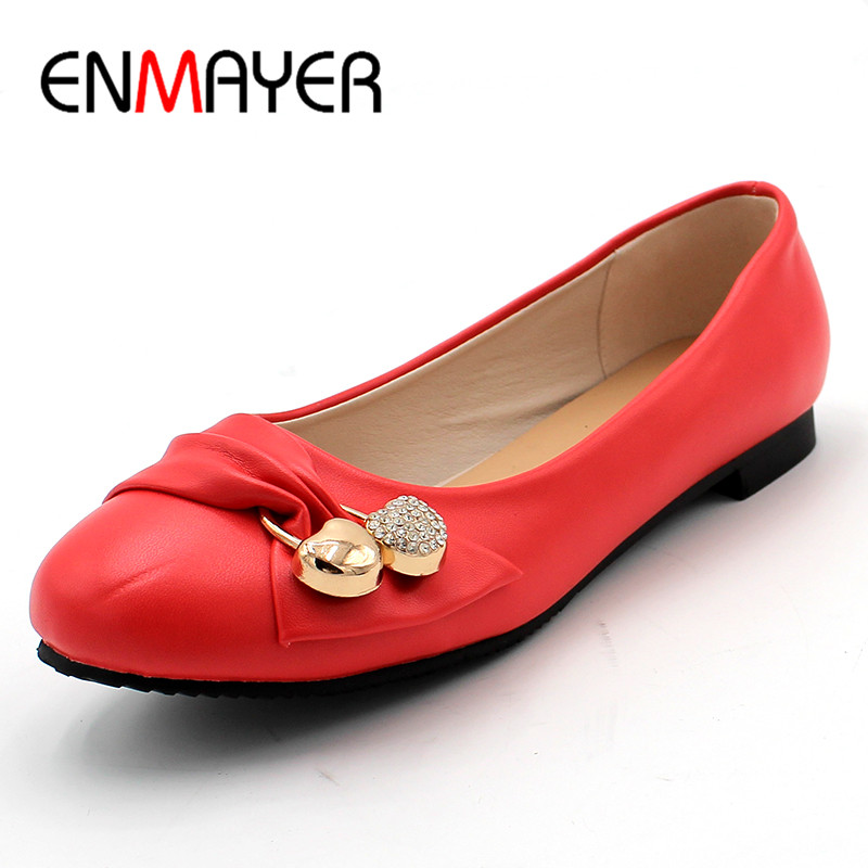 ENMAYER Women's Fashion Shoes Woman Flats Spring Shoes Large Size 4-14 Female Ballet Shoes  Metal Round Toe Solid Casual Shoes