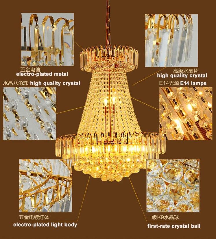 Zlatni kristalni luster Moderni kristalni lusteri Svjetla - Unutarnja rasvjeta - Foto 5