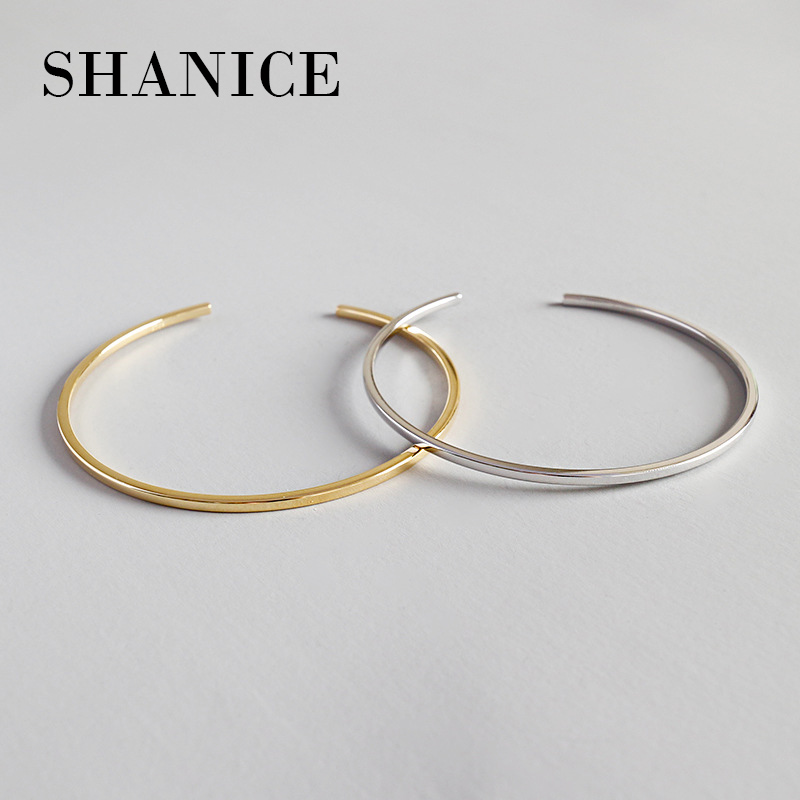 SHANICE 100% 925 sterling silver luxury women cuff bangle bracelet silver & gold color simple single circle adjust bangles