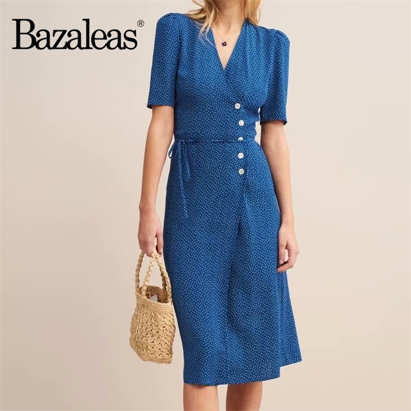 Bazaleas France Navy Dots Print Split Vestidos Wrap Midi Dress Elegant Summer Dress Chic V Neck Vintage Drop Shipping