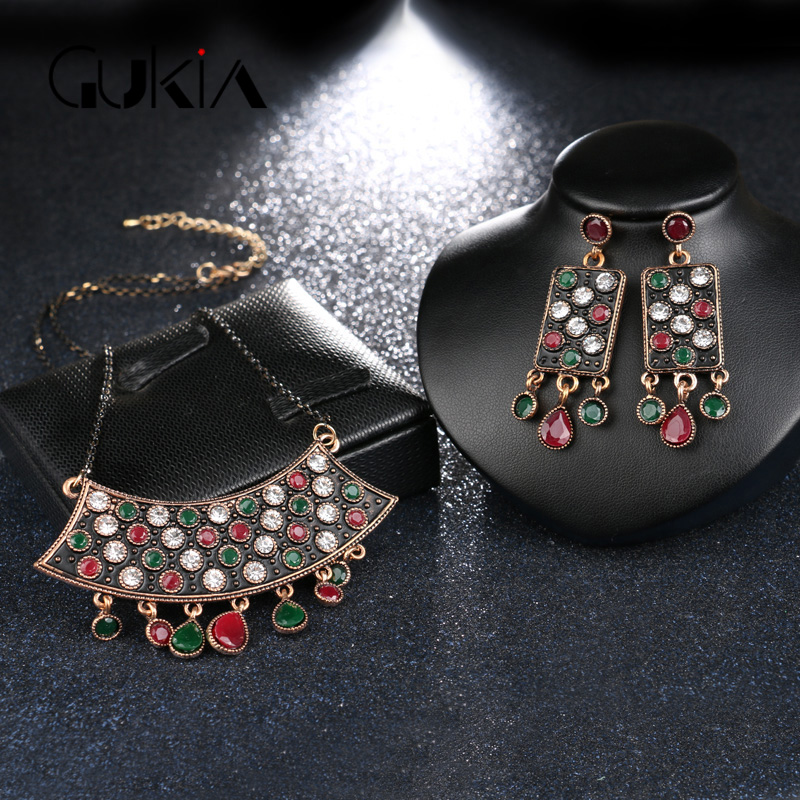 Gukin Turkey Jewelry Earrings-Sets Crystal-Sculpture Necklace Wedding-Accessories Gold