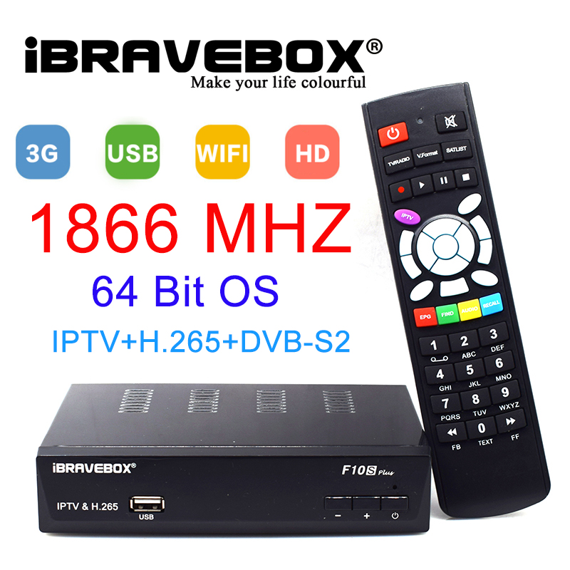 iBRAVEBOX F10S PLUS DVB-S2 Satellite Receiver Receptor Support H.265 AVS+ PowerVu Biss Key newcccam Youtube 1080P HD Digita Med v8 super satellite receiver dvb s2 full 1080p usb wifi biss key newcamd youtube powervu 1 year europe 7 clines server hd