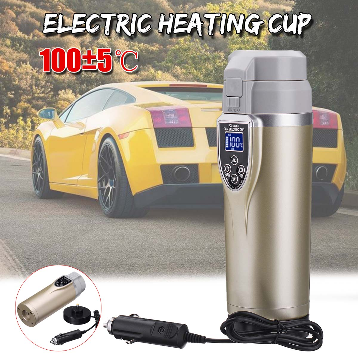 12V/24V 350ml Auto Car Vehicle Electric Heating CupAdjustable Temperature Electric Kettle Boiling Mug Tea Milk Thermal Thawing
