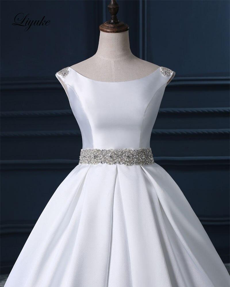 Gorgeous Satin Scoop Court Train Backless Wedding Dress Beading ...