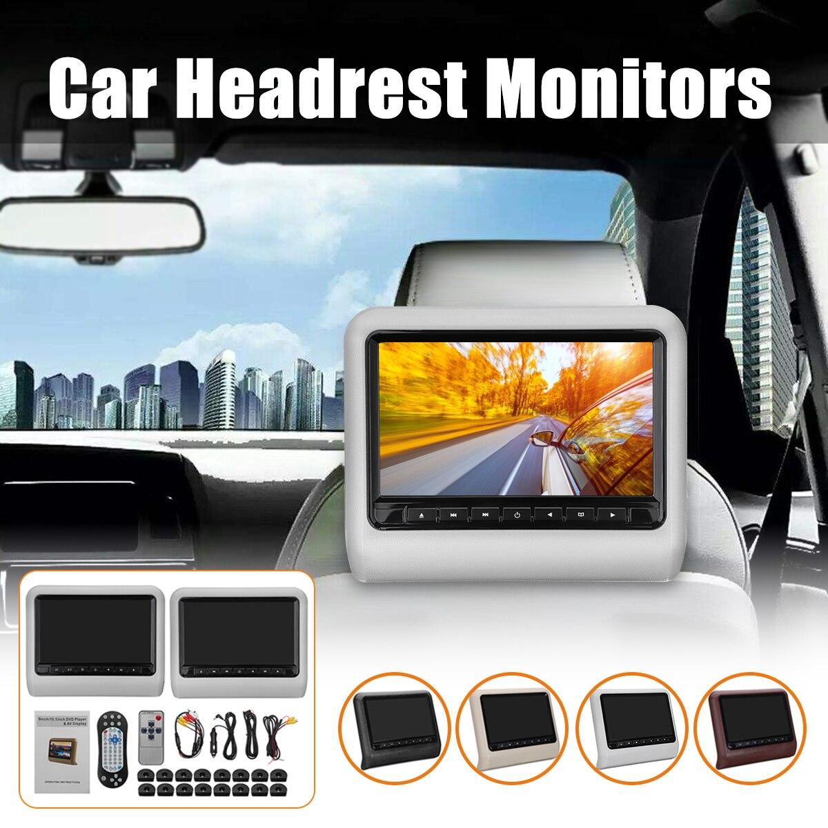 1 set/2 pz 9 pollice Auto Poggiatesta Monitor DVD Player + AV Player Remote Controller con Cavo kit cuscino auto LCD monitor di SISTEMA
