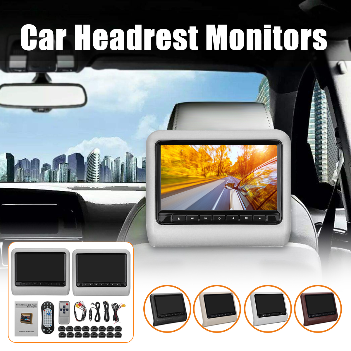 1Set/2Pcs 9 inch Car Headrest Monitor DVD Player +AV Player Remote Controller with Cable kit Car Pillow LCD monitor SYSTEM цена