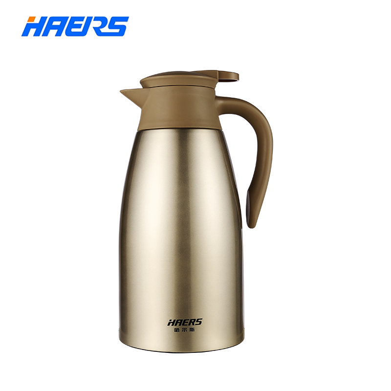 Haers 2L Stainless Steel Thermos Flask Tea Coffee Carafe Double Wall Vacuum Insulated with Press Button Water Bottle