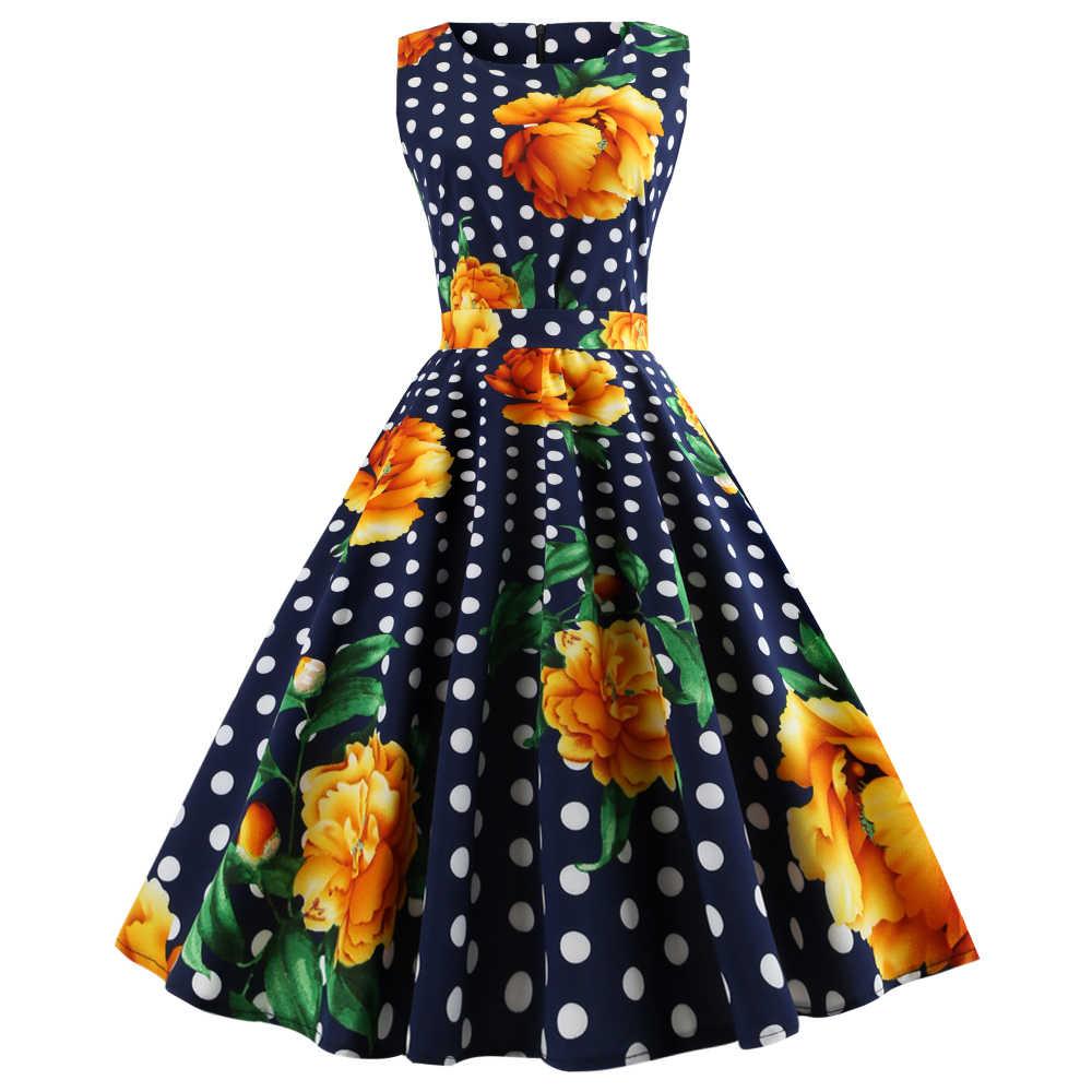 Joineles Gambar Bunga Musim Panas Wanita Vintage Gaun Leher Bulat Tanpa Lengan Sabuk Retro Gaun Pesta Vestidos 60 S Audrey Hepburn Dress