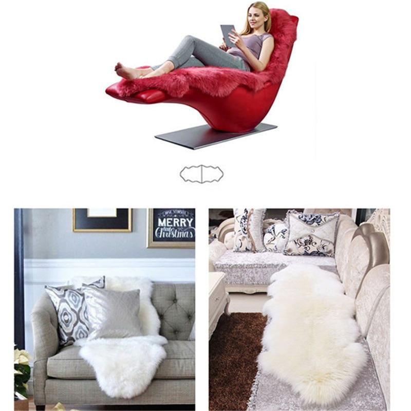 Soft Artificial Sheepskin Rug Chair Cover Bedroom Mat Artificial Wool Warm Hairy Anti Slip Carpet Pad