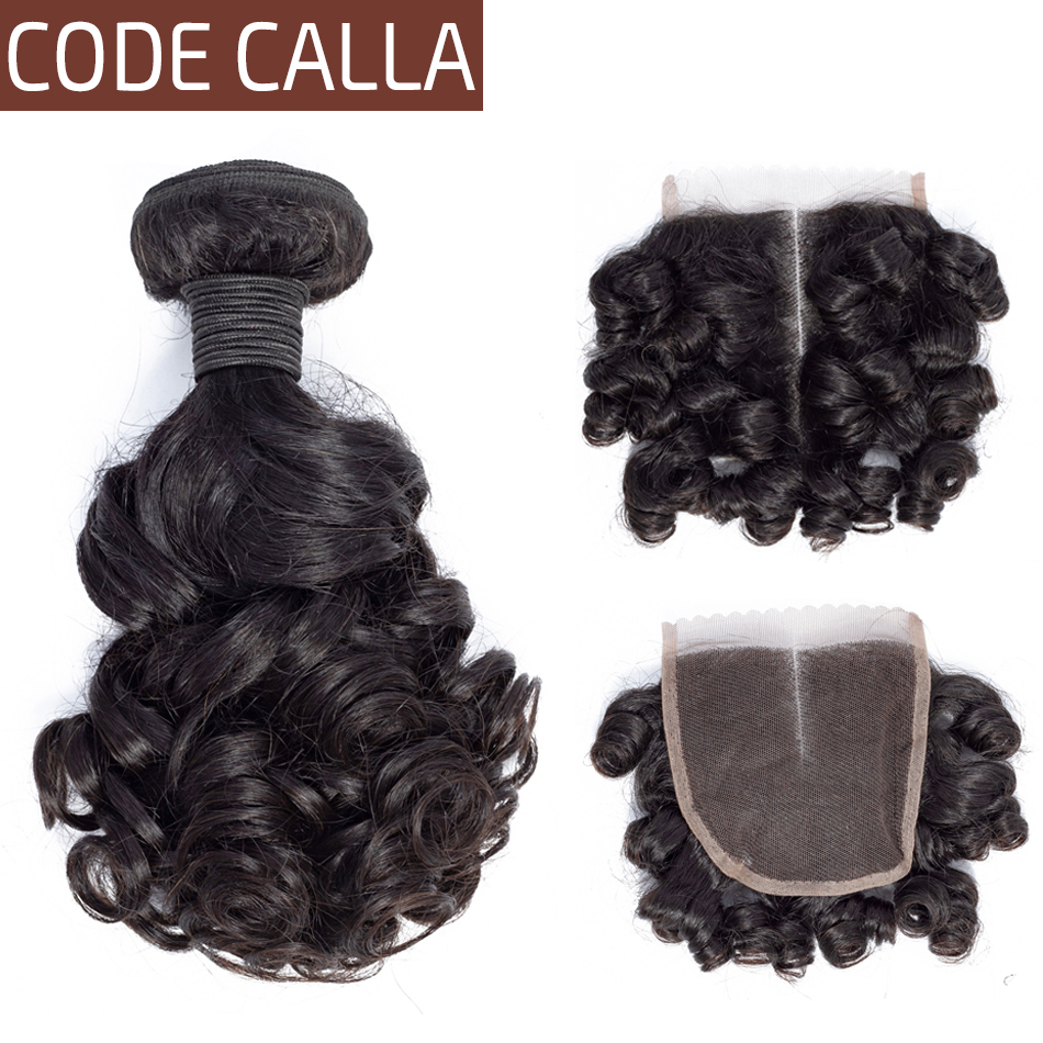Code Calla Bouncy Curly Brazilian Salon Remy Human Hair Weave Extensions 3 Bundles With 4X4 Lace