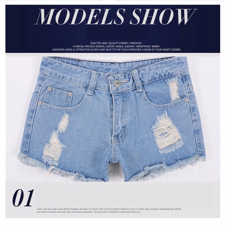Fashion women Korean summer denim shorts sexy punk rivet hole mini jeans shorts soft bottom plus size female blue shorts A160 G