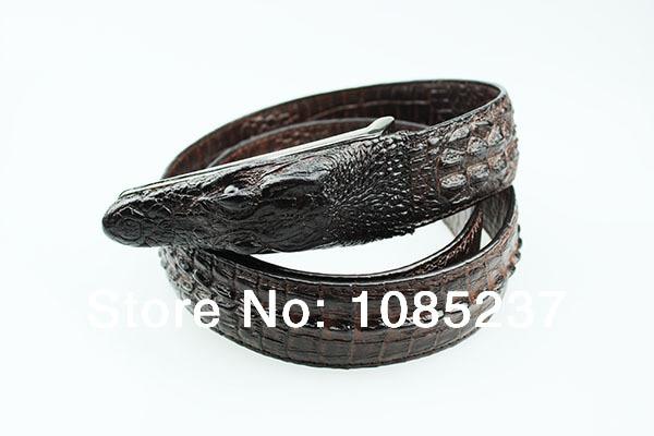 2014 HOT guaranteed 100% genuine leather newly men's belt novelty alligator crocodile belt free shipping