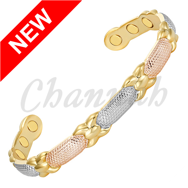 Channah 2017 Ladies Gift 3-Tone Golden Rose Gold Silver Bio Copper Material Bangle 6pcs Magnets Women Jewelry Charm FreeShipping