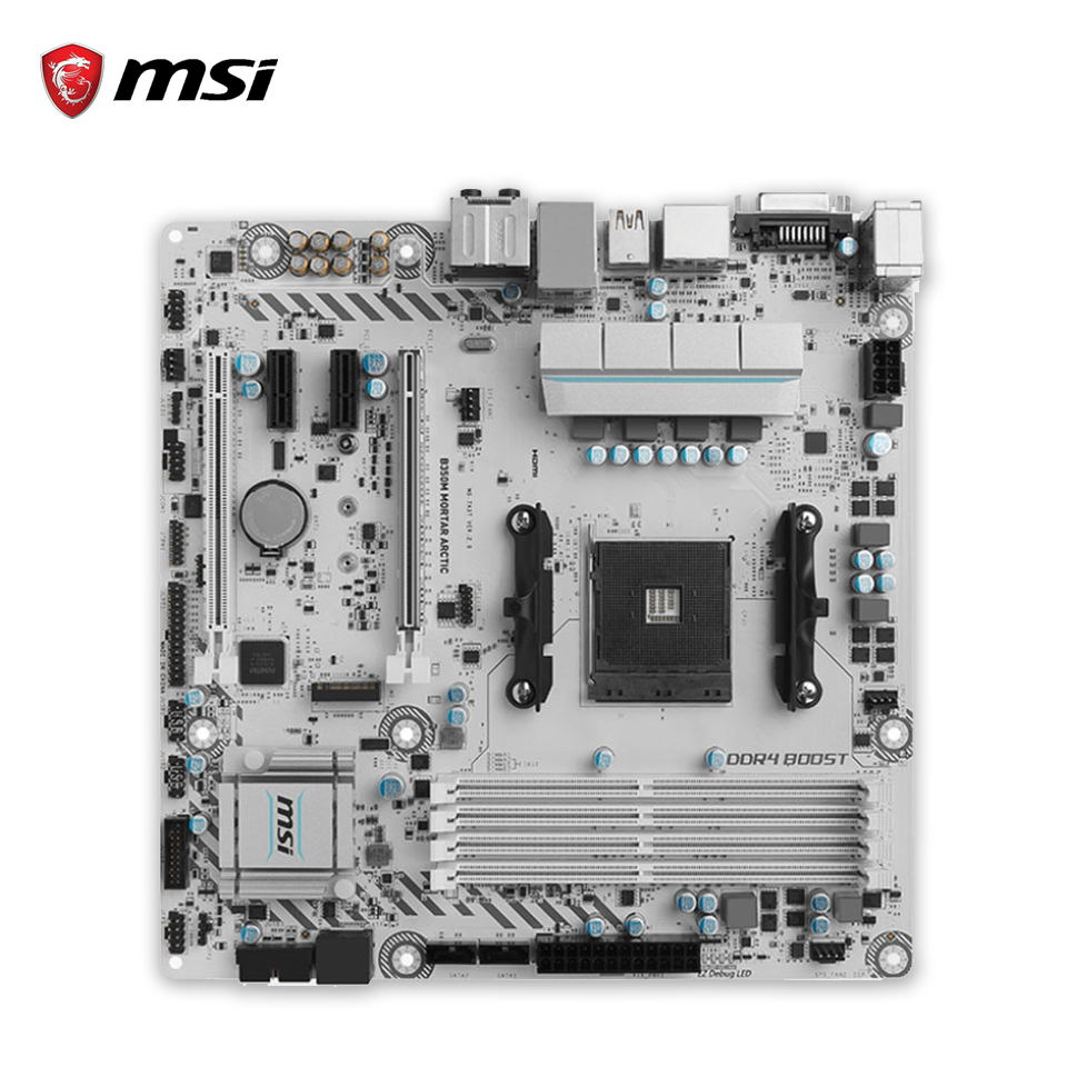 цена на MSI B350M MORTAR ARCTIC Original New Desktop Motherboard B350 Socket AM4 DDR4 64G USB3.1 Micro-ATX