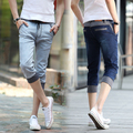 Men Jeans Real Top Fashion Loose Mid Coated Pockets Printed Jeans 2017 Summer Mens Casual Straight Male Drawstring Denim Capris