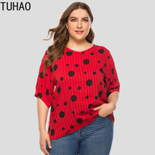 Casual Blouse TUHAO Yellow Tops Short-Sleeve Loose Polka-Dot Large-Size Women's Summer