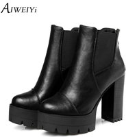 AIWEIYi Women Ankle Boots Fashion Platform Square High Heels Black Short Boots For Woman Brand Design