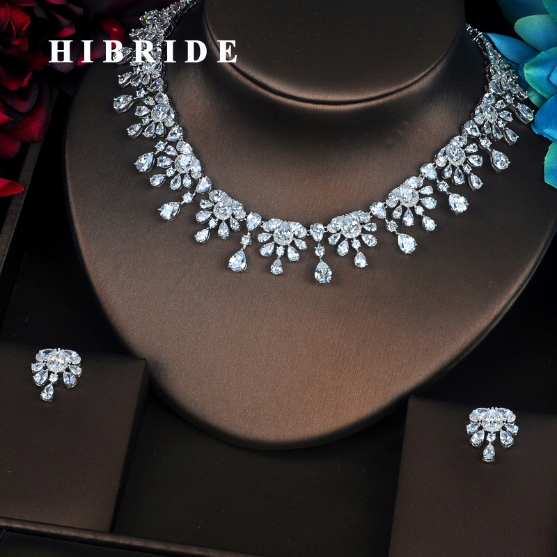 HIBRIDE Beautiful Flower Shape Crystal Cubic Zirconia Women Jewelry Sets Wedding Bride Dress Accessories Wedding Show