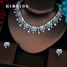 Hibride 아름다운 꽃 모양 크리스탈 큐빅 지르코니아 여성 쥬얼리 세트 웨딩 신부 드레스 액세서리 웨딩 쇼 N 361