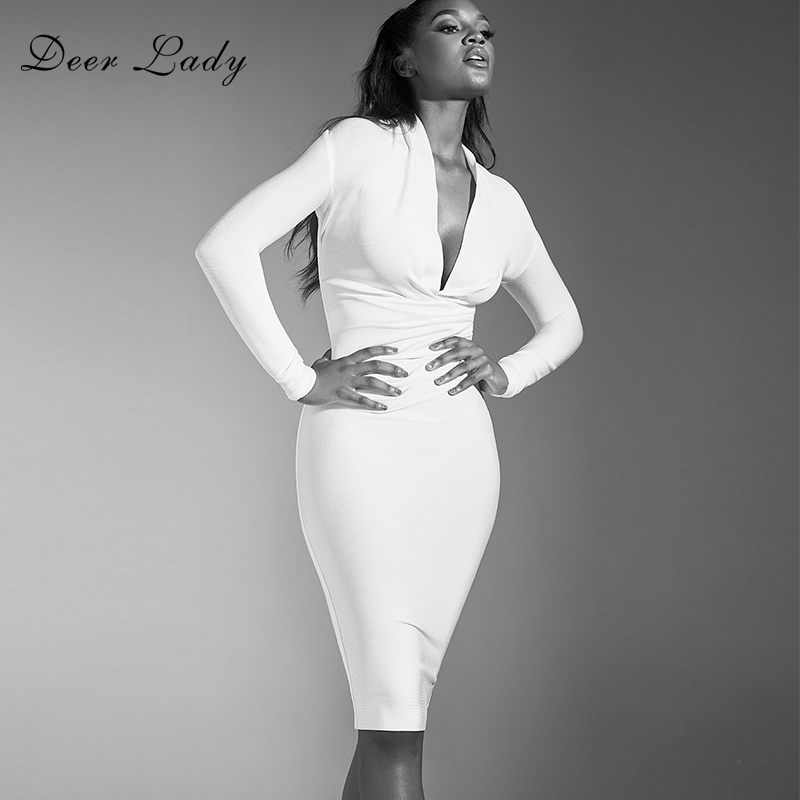 Deer Lady Celebrity Bandage Dresses 2019 New Arrivals Women Bodycon Bandage Party Dress White Sexy Long Sleeve Club Dress V Neck