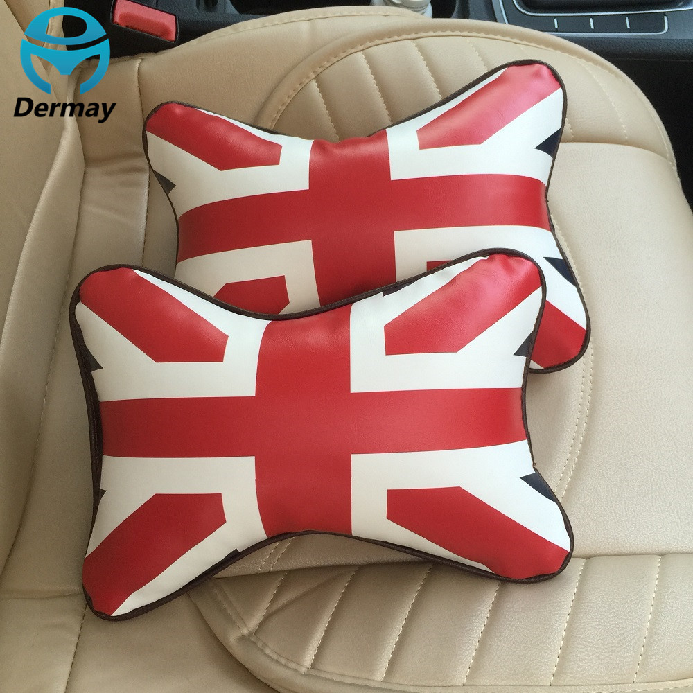 Aliexpress com buy new 2pcs car neck pillow headrest union flag pattern red with white pu leather auto seat cover head neck rest cushion from reliable