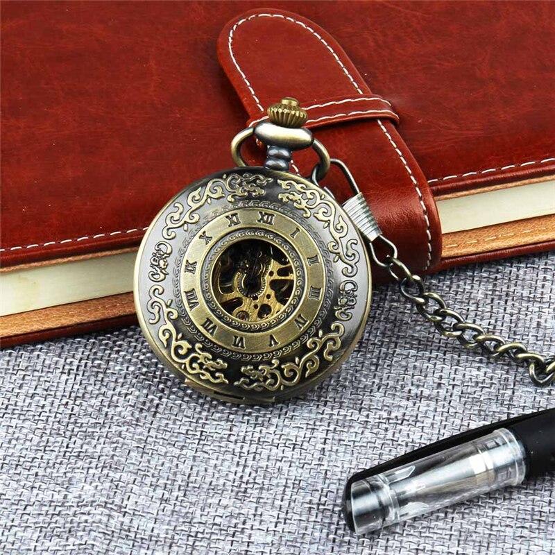 Retro Pocket Watch for Unisex Men Women Bronze Elegant Engraved Case Steampunk Skeleton Mechanical Movement With Chain Gift Box 2