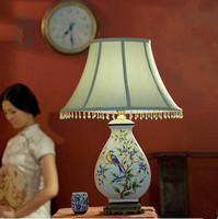 Chinese Beautiful Hand Painted Ceramic Table Lamps Classic Modern Fabric Art E27 LED Lamp For Table