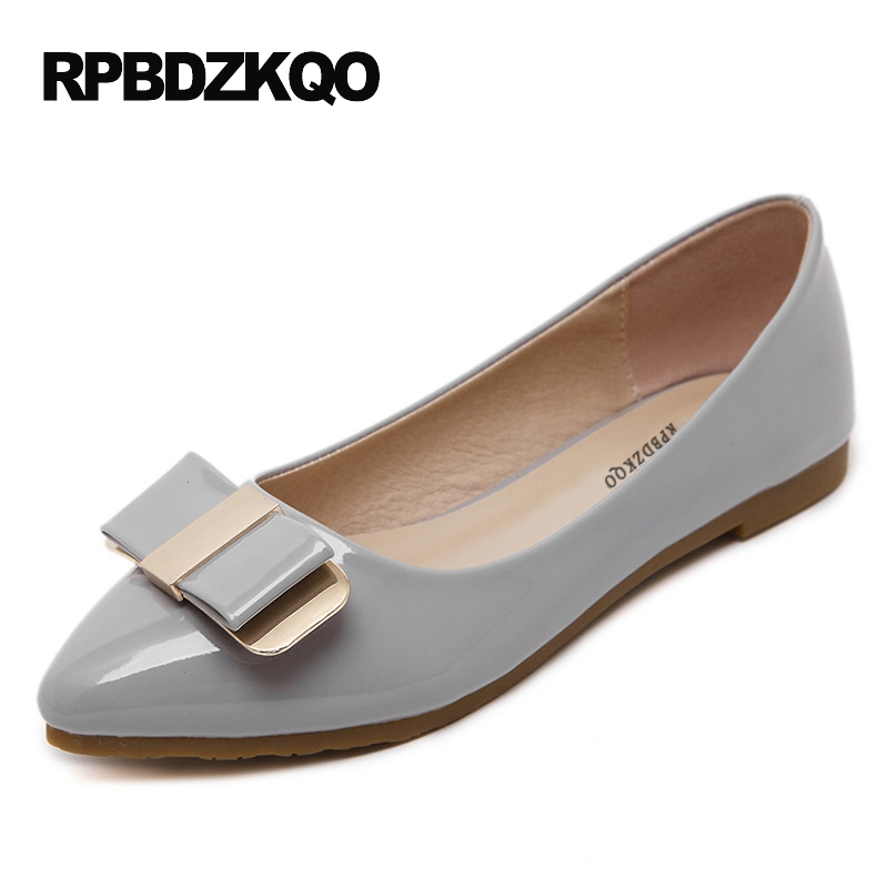 Size 42 10 Embellished Pointed Toe Grey Large Women Flats Ladies Beautiful Shoes Slip On Spring Autumn 2017 Bow Patent Leather beyarne spring summer women moccasins slip on women flats vintage shoes large size womens shoes flat pointed toe ladies shoes