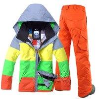 Зимняя Лыжная куртка и лыжи Штаны для отдыха на открытом воздухе спортивные мужские водонепроницаемый ветрозащитный лыжный костюм Мужская