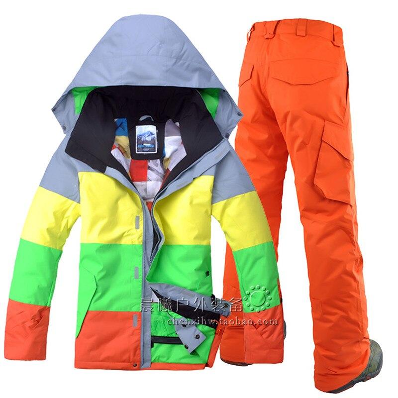 Chaqueta de esquí de invierno y pantalones esquiar exterior ocio deportivo de los hombres impermeable a prueba de viento traje de esquí de doble tabla Snowboard de los hombres