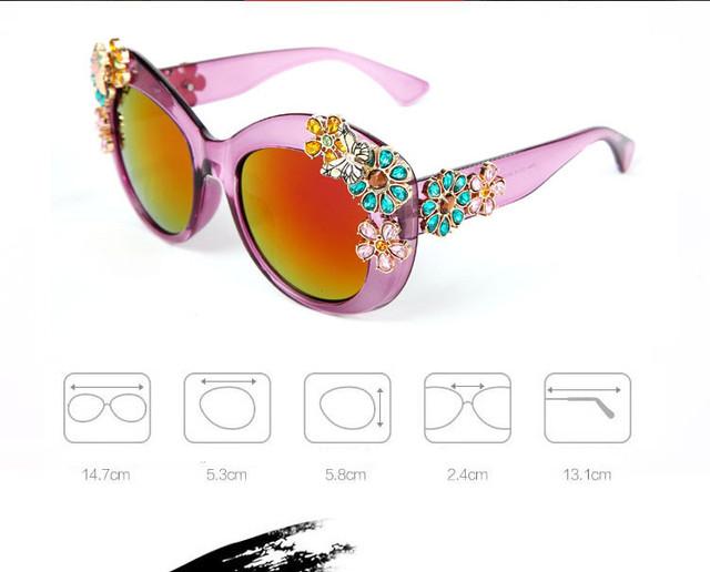 Acessórios olho pedra de cristal de grandes dimensões gato olho quadro mulheres óculos de sol marcas Designer Sexy moda feminina óculos de sol óculos