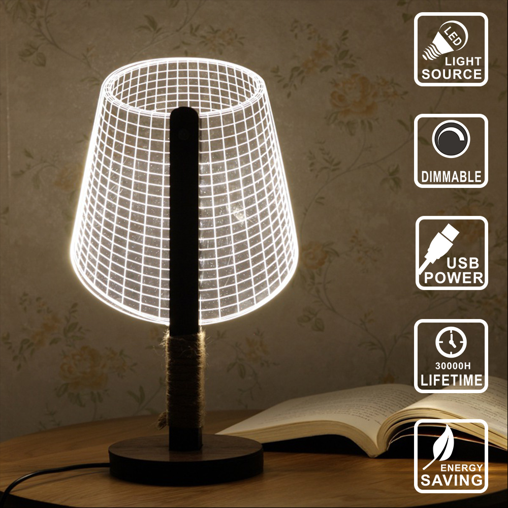 Acrylic Light  USB Night Light desk table lamp Wood 3D lamp dimmable lighting wood led bulb decoration home light  IY804009 new 3d table lamp creative acrylic mickey mouse led night light colorful atmosphere decoration table lamp for children iy803325