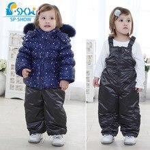 SP-SHOW Winter Children Unisex Two-Piece For 2-7 Age Natural fox fur Hooded Down & Parkas Snowsuit Luxury Brand 1290