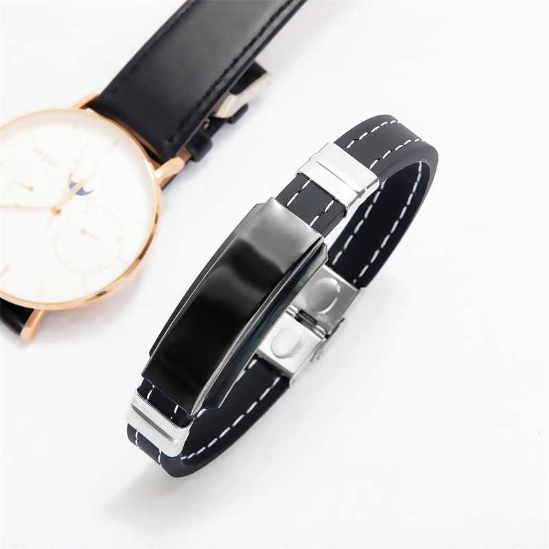 AZIZ BEKKAOUI Engrave Name Black Silicone Leather Bracelet Magnetic Stainless Steel Bracelets for Men Vintage Male Jewelry Gift