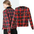 New 2014 Fall Fashion British Style Plaid Cotton Jackets And Coats Womens European Brand Autumn Checkered Casaco Outerwears