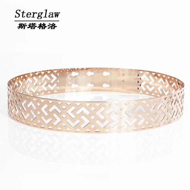 Геометрическая ажурная сетка металла свадебные золотые пояса 2017 мода роскошный пояс женщин пояса пояса бренд серебро cinturon STERGLAW J008